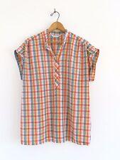 Vtg 60s 70s Miss Fashionality Rainbow Plaid Gay Pride Hippie MOD Retro Shirt M L
