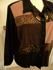 Brown/Black Liz Baker Mole Polyester Sz 24W Jacket.    - 51