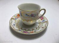 VINTAGE Bavaria Porcelain DEMITASSE Cup And Saucer GOLD Gilt FLORAL Pattern