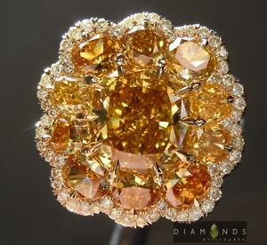 3.01ct Fancy Deep Brownish Yellow Cushion Diamond Ring R6154 Diamonds by Lauren