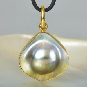 18K Gold Vermeil over Sterling Silver with a Mabe Blister Pearl Pendant 9.16 g