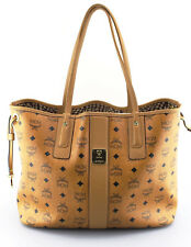 Women's MCM 'Medium Liz' Cognac Brown Coated Canvas Reversible Shopper Handbag