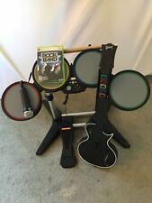 Rock Band Wired Drum Kit - Set Bundle Lot Guitar Mic Game - Xbox 360 Microsoft