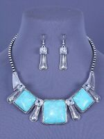 Square Turquoise Blue Stones Rhinestone Western Necklace Set Fashion Jewelry