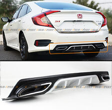 For 2016-2018 Honda Civic Silver Rear Bumper Diffuser W/ Decorative Exhaust Tip