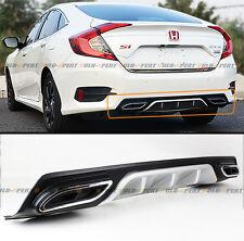 For 2016-2017 Honda Civic Silver Rear Bumper Diffuser W/ Decorative Exhaust Tip