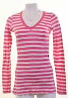 HOLLISTER Womens Top Long Sleeve Size 12 Medium Pink Striped  IU05