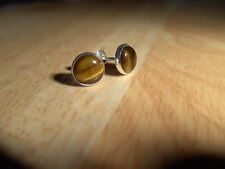 SOLID STERLING SILVER STUD EARINGS WITH TIGEREYE  MADE BY ME.