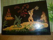 """Belle peinture sur bois """"laquée"""" -- Russe ? Scène avec dragon issue d'un conte"""