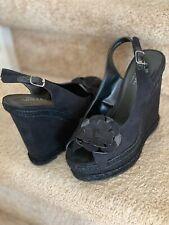 Black Wedge Suede Sandals 6.5 Medium