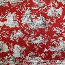 BonEful Fabric FQ Cotton Quilt Red Gray White Antique B&W Flower VTG Toile Decor