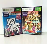 Lot Of 2 XBox 360 Kinect Games Kinect Adventures And Just Dance 3