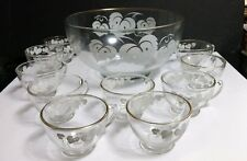 12 Pc Vintage Anchor Hocking White Grape on Clear Leaf w/Gold Rim Punch Bowl Set