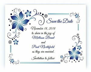 100 Personalized Custom Blue Flower Border Bridal Wedding Save The Date Cards