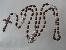 Nuevo Rosario Cadena Marrón Oscuro Madera Ovalado Rosary Rosario 0309 Lang