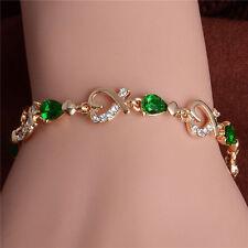womens heart bracelet 7 inch green clear cubic zirconia 14k gold filled