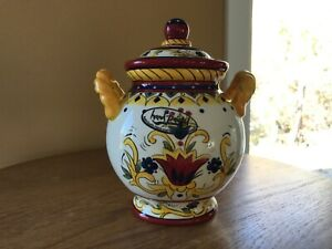 """Dario Farrucci Designs Tuscany Flower Canister with Lid Ginger/Cookie Jar 8"""""""