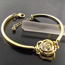 FSA500 GENUINE REAL 18K YELLOW GF GOLD DIAMOND SIMULATED ROSE BRACELET BANGLE