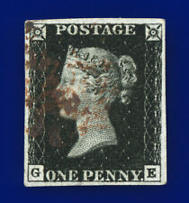 1840 SG2 1d Black Plate 6 A1(2)vi AS41 GE Brown Maltese Cross Cat £3,000 bble