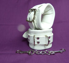 Lockable faux leather Padded WRIST CUFFS CU-34-WHI, FREE UK DELIVERY