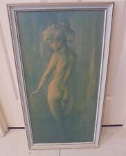 Vintage Art Print Picture Nude Lady Green Background Blond Hair late 60's 70's