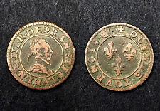 Double Tournois 1591/92 La Ligue Monnayage au nom Henri III°. Maulin. Cuivre