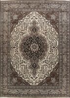 Geometric IVORY/GRAY Tebriz Area Rug Hand-Knotted Traditional Wool Carpet 10x13