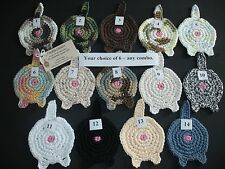 """New listing 6 Cat Butt Coasters Handmade Cotton Crochet 4"""" You Pick 6 - Proceeds Benefit Apl"""