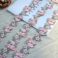 "1.97""*3Y Water Soluble Lace,Embroidery Venise Lace Trim in Pink+Greyish Green"