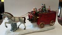 Roman Inc. #34474 Musical Santa Claus Horse Wagon Christmas Tree Elves