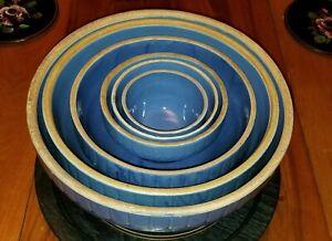 "SET 6 Uhl Pottery Blue Pickett Fence Nesting Bowls 12,10,8,6,5,4"" Dia. Beautiful"
