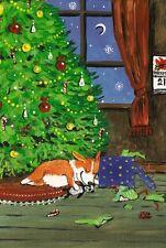 LE #2 4X6 POSTCARD RYTA CORGI FAMILY CHRISTMAS TREE EVE FOK ART WINTER SEASON