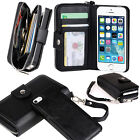 New Black All in One Zip Purse Wallet Leather Case Cover For iPhone 6 Plus
