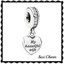 "New w/Hinged Box Pandora ""My Beautiful Wife"" Locket Charm 791524CZ Christmas NEW"