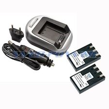 2x Camera Batteries + USB Wall/Car Charger Pack For CANON NB-1LH NB-1L S100