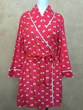 NWT KATE SPADE New York Flannel Short Robe Coral/White Bow Size M