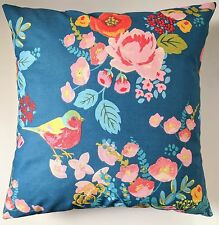 """Blue Bird and Rose Shabby Chic Floral Cushion Cover 16"""""""