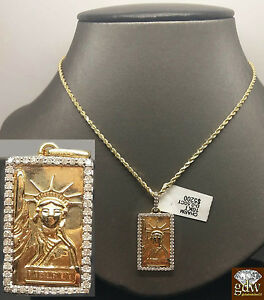 """10k Yellow Gold Dog Tag Liberty Charm Pendent 1.4"""" With 10K Rope Chain, Ladies"""