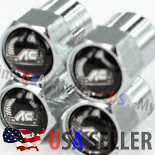 AC Schnitzer Logo Valve Stem Caps Covers Silver Chromed Roundel Emblem Tire Tyre
