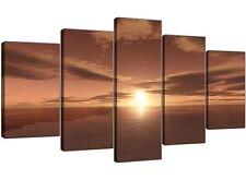 EXTRA Large Marrone Ocean Sunrise-Flora Tela SPLIT 5 pannello di larghezza 160cm