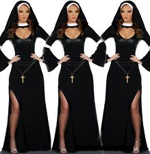 Sexy Deluxe Women Nun Costume Adult Gothic Sister Halloween Fancy Dress Outfits