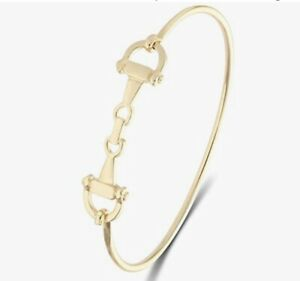 Equestrian  Antique Yellow Gold Horse Snaffle Bangle Bracelet Easy Open Clasp