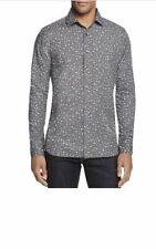 Bloomingdale's Charcoal Floral Button Down Shirt L The Men's Slim Fit