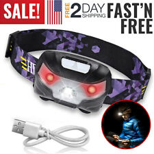 LED Headlamp Rechargeable Flashlight Working Hands Free Head Band Outdoor Lamp