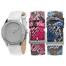 GUESS WHITE,BLUE,PINK PYTHON LEATHER BAND,CRYSTAL BEZEL WATCH SET WATCH W0164L1