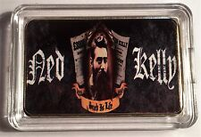 """NED KELLY"" Such Is Life Colour Printed HGE 999 24k Gold Ingot/token #17"