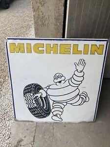 ancienne Tole Plaque Aluminium No Emaillee Double Face Michelin Garage Loft Auto