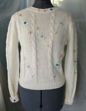 Vintage Cream Sweater with Floral Accents