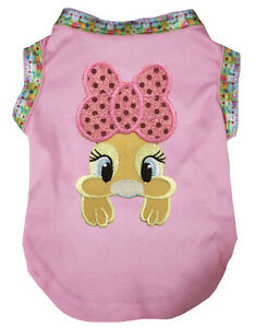 Easter Pink Top T-Shirt Pink Bow Bunny Pet Cat Dog Puppy One Piece Clothes