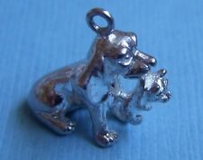 Dog carrying cat in stocking sterling charm